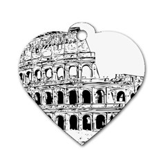 Line Art Architecture Dog Tag Heart (one Side)
