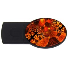 Leaf Autumn Nature Background Usb Flash Drive Oval (2 Gb)