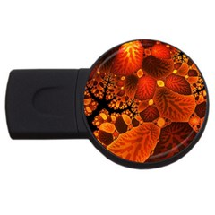 Leaf Autumn Nature Background Usb Flash Drive Round (4 Gb)