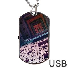 Industry Fractals Geometry Graphic Dog Tag Usb Flash (one Side)