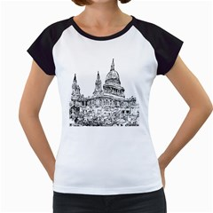 Line Art Architecture Church Women s Cap Sleeve T