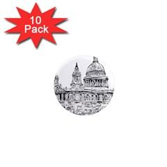 Line Art Architecture Church 1  Mini Magnet (10 Pack)