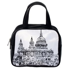 Line Art Architecture Church Classic Handbags (one Side)