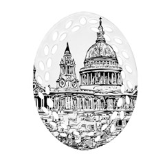 Line Art Architecture Church Ornament (oval Filigree)