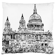 Line Art Architecture Church Large Flano Cushion Case (two Sides)
