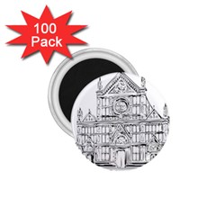 Line Art Architecture Church Italy 1 75  Magnets (100 Pack)
