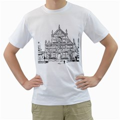 Line Art Architecture Church Italy Men s T Shirt (white) (two Sided)