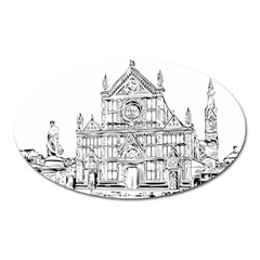 Line Art Architecture Church Italy Oval Magnet