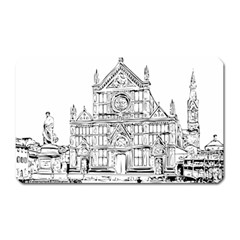 Line Art Architecture Church Italy Magnet (rectangular)