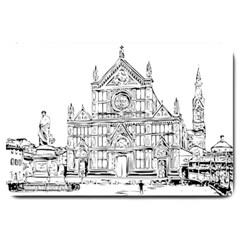Line Art Architecture Church Italy Large Doormat