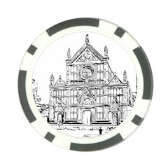 Line Art Architecture Church Italy Poker Chip Card Guard