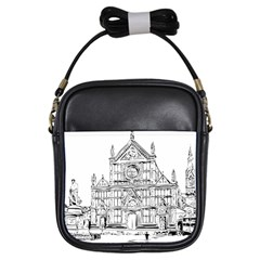 Line Art Architecture Church Italy Girls Sling Bags