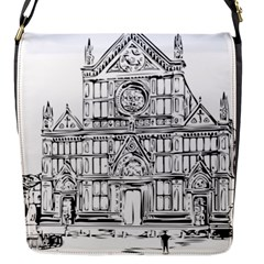 Line Art Architecture Church Italy Flap Messenger Bag (s)