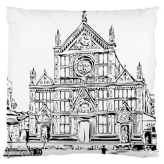 Line Art Architecture Church Italy Large Flano Cushion Case (two Sides)