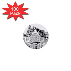 Line Art Architecture Old House 1  Mini Buttons (100 Pack)