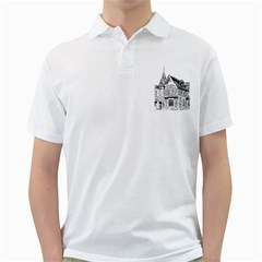 Line Art Architecture Old House Golf Shirts