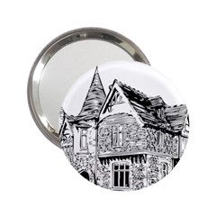 Line Art Architecture Old House 2 25  Handbag Mirrors