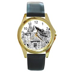 Line Art Architecture Old House Round Gold Metal Watch