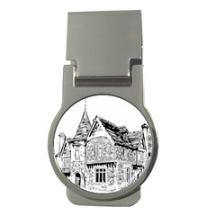 Line Art Architecture Old House Money Clips (round)