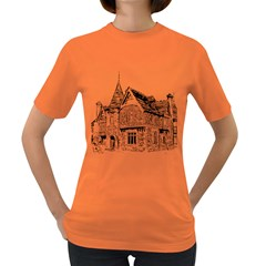 Line Art Architecture Old House Women s Dark T Shirt