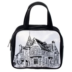 Line Art Architecture Old House Classic Handbags (one Side)