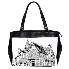 Line Art Architecture Old House Office Handbags (2 Sides)