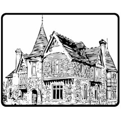 Line Art Architecture Old House Fleece Blanket (medium)
