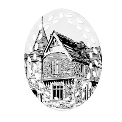 Line Art Architecture Old House Oval Filigree Ornament (two Sides) by Sapixe