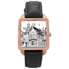 Line Art Architecture Old House Rose Gold Leather Watch
