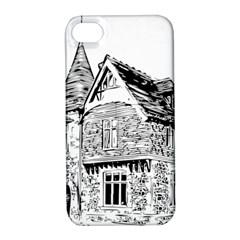 Line Art Architecture Old House Apple Iphone 4/4s Hardshell Case With Stand by Sapixe