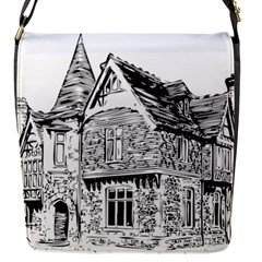 Line Art Architecture Old House Flap Messenger Bag (s)