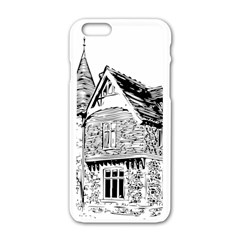 Line Art Architecture Old House Apple Iphone 6/6s White Enamel Case
