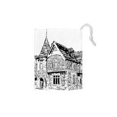 Line Art Architecture Old House Drawstring Pouches (xs)