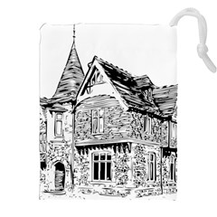 Line Art Architecture Old House Drawstring Pouches (xxl)