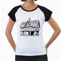 Line Art Architecture Vintage Old Women s Cap Sleeve T