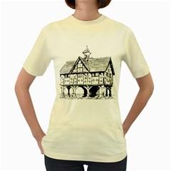 Line Art Architecture Vintage Old Women s Yellow T Shirt