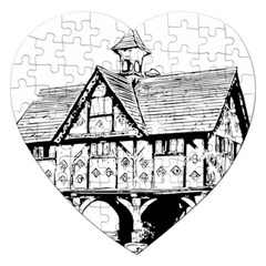 Line Art Architecture Vintage Old Jigsaw Puzzle (heart) by Sapixe