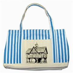 Line Art Architecture Vintage Old Striped Blue Tote Bag by Sapixe