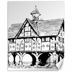 Line Art Architecture Vintage Old Canvas 11  X 14