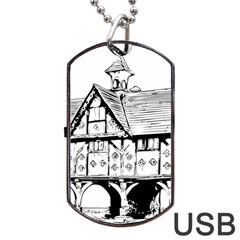 Line Art Architecture Vintage Old Dog Tag Usb Flash (one Side)