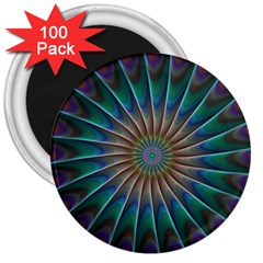 Fractal Peacock Rendering 3  Magnets (100 Pack) by Sapixe