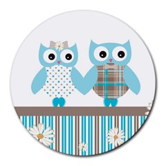 Owl Animal Daisy Flower Stripes Round Mousepads