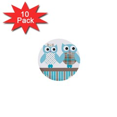 Owl Animal Daisy Flower Stripes 1  Mini Buttons (10 Pack)