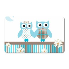 Owl Animal Daisy Flower Stripes Magnet (rectangular) by Sapixe