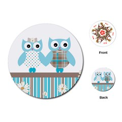 Owl Animal Daisy Flower Stripes Playing Cards (round)