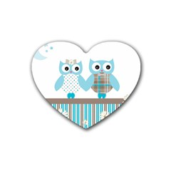 Owl Animal Daisy Flower Stripes Heart Coaster (4 Pack)