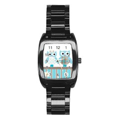 Owl Animal Daisy Flower Stripes Stainless Steel Barrel Watch