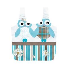 Owl Animal Daisy Flower Stripes Full Print Recycle Bags (m)