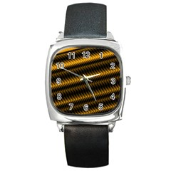 Ornament Stucco Close Pattern Art Square Metal Watch