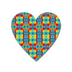 Pop Art Abstract Design Pattern Heart Magnet